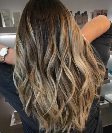 Dark-Brown-with-Golden-and-Ash-Blonde-Highlights